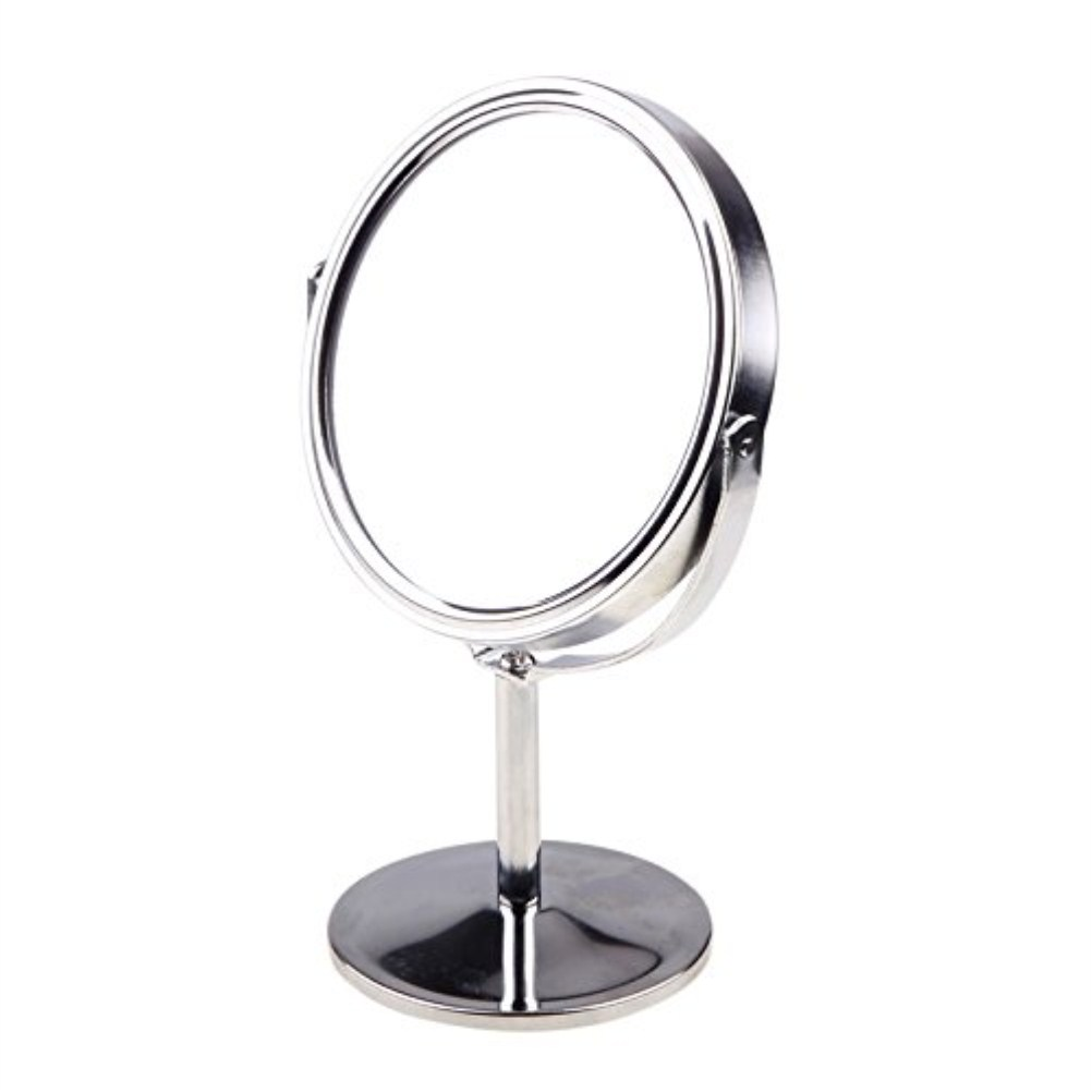 double sided magnifying makeup table mirror round rotary desk mirror stand table mirrors ladies. Black Bedroom Furniture Sets. Home Design Ideas