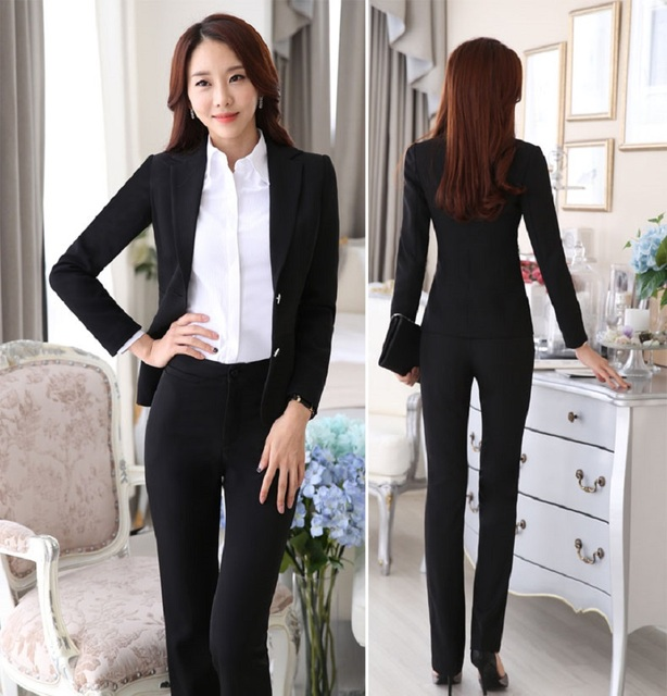 f9978f9ac8d8 Formal Uniform Style Female Pantsuits With Jackets And Pants Autumn Winter Professional  Business Work Office Suits