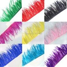 13-15 см, ширина 5-6 дюймов, 10 м/лот, белый цвет, отделка из страусиных перьев, бахрома, перо, боа, в полоску, аксессуары для вечеринки
