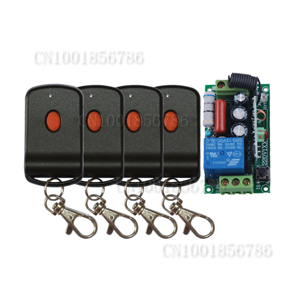 220V 1CH Wireless Remote Control  Light Switch +Case +4PCS transmitter With Battery   FreeShipping 1pcs lot battery holder box case 3x aa 4 5v with switch