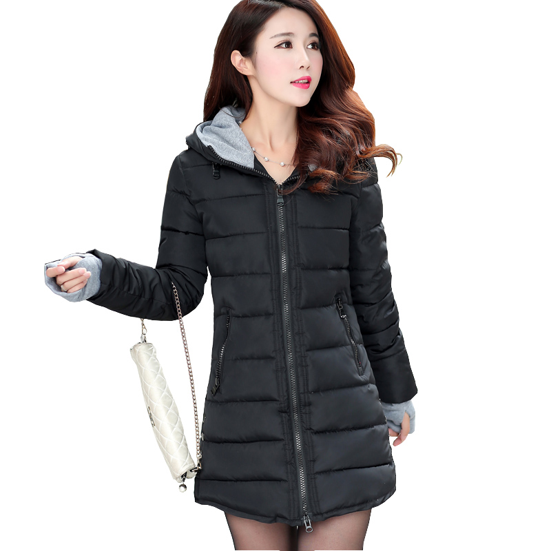 Mandadi Women Thick Hooded Parkas  Warm Winter Jacket Women Solid Coat Female Parka outwear cotton padded coats abrigo mujer
