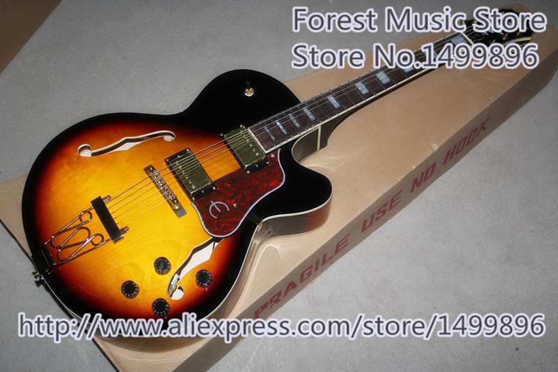 Hot Selling Vintage Sunburst Finish Joe Pass Jazz Electric Guitars China Hollow Maple Body For Sale