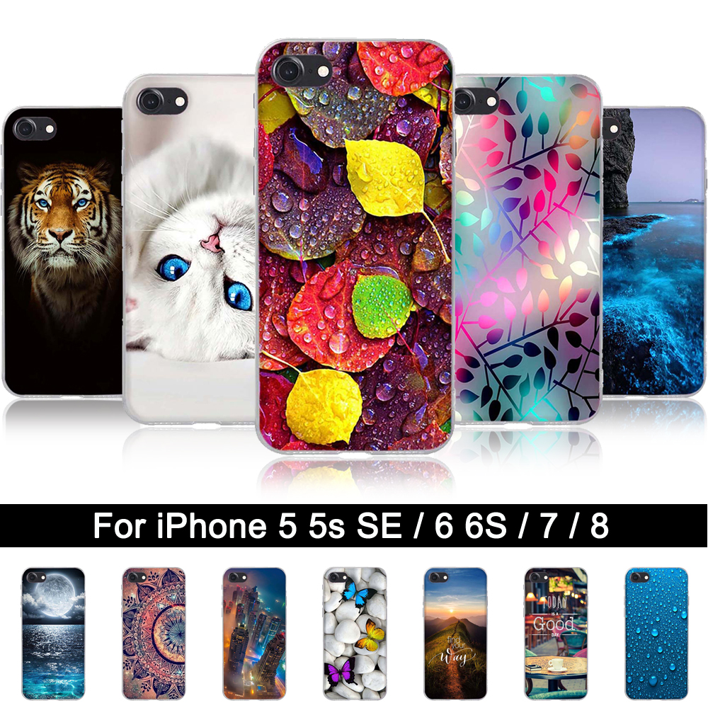 Silicone Case for iPhone 6 6 s Soft TPU Back Phone Cover Case for iPhone 5 5s SE Print Protector...  s iphone 7 case | Top 10 Best iPhone 7 & 7 Plus Cases! Silicone font b Case b font for font b iPhone b font 6 6 font b