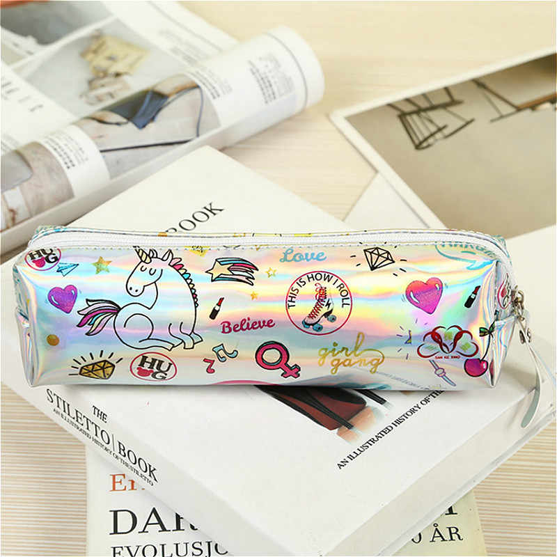 1pcs/sell Kawaii Halloween Pencil Case Iridescent Laser lovely Beautiful unicorn pattern School Supplies Stationery Christmas