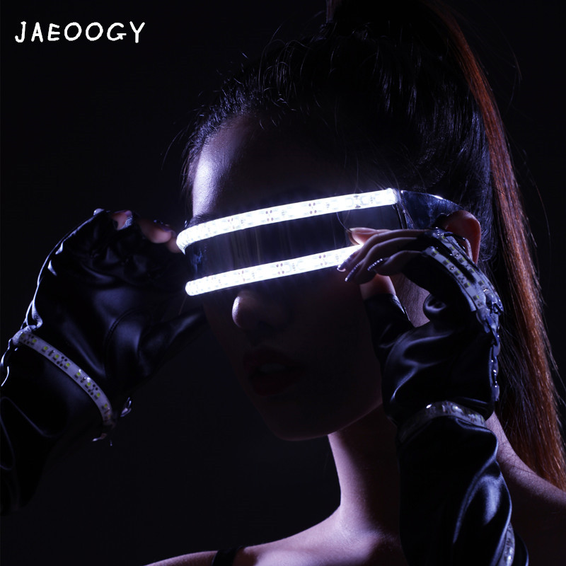 Free shipping LED glasses bar night stage stage lighting show dancing lights gloves Halloween party fluorescent