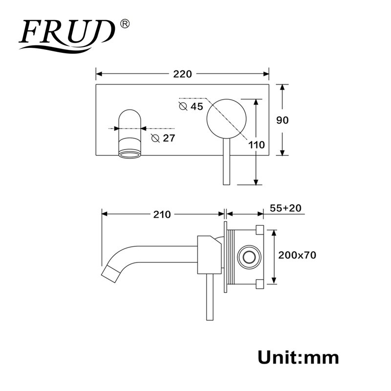 Frud Single Handle Basin Faucet Black Matte Sink Tap Bathroom Concealed Hot And Cold Wall Mounted Shower Mixer Valve Taps Y10168