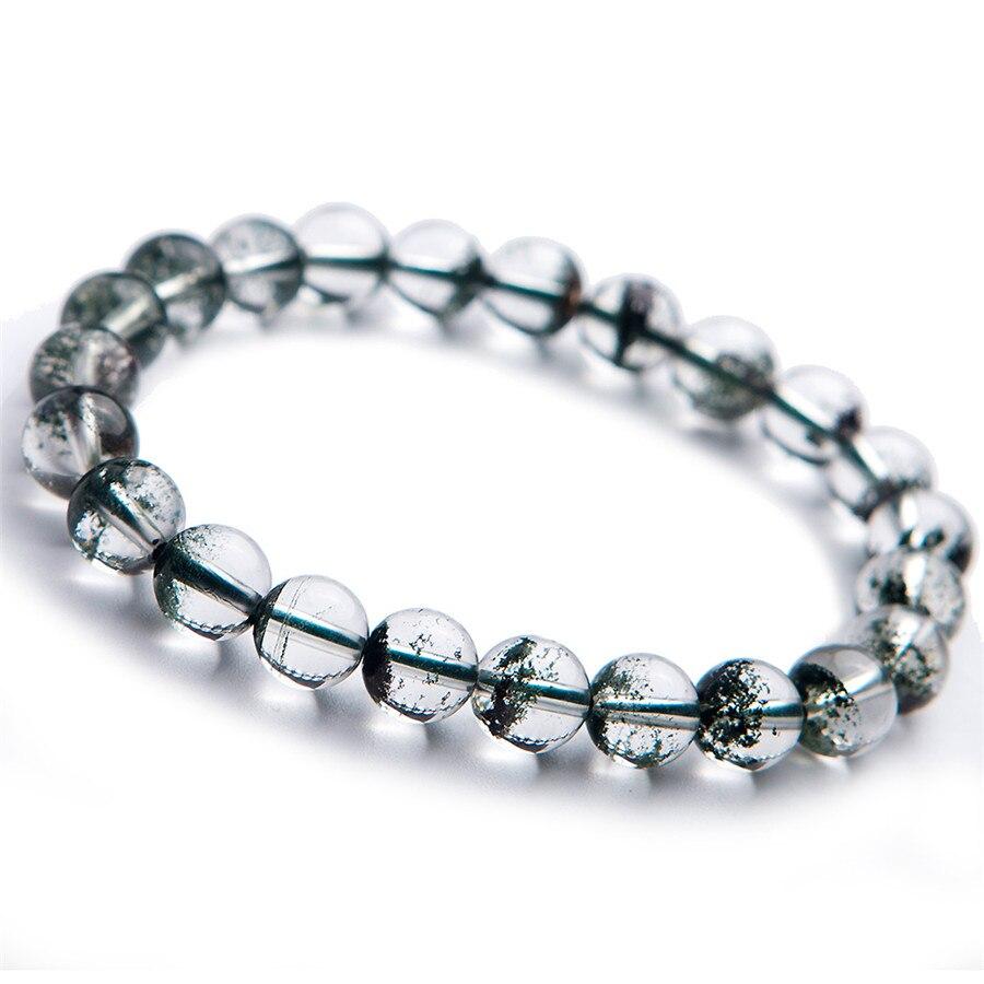 Bracelet en cristal naturel fantôme vert Quartz perles rondes livraison gratuite 8.5mm cristal Bracelet en perles naturelles à la mode