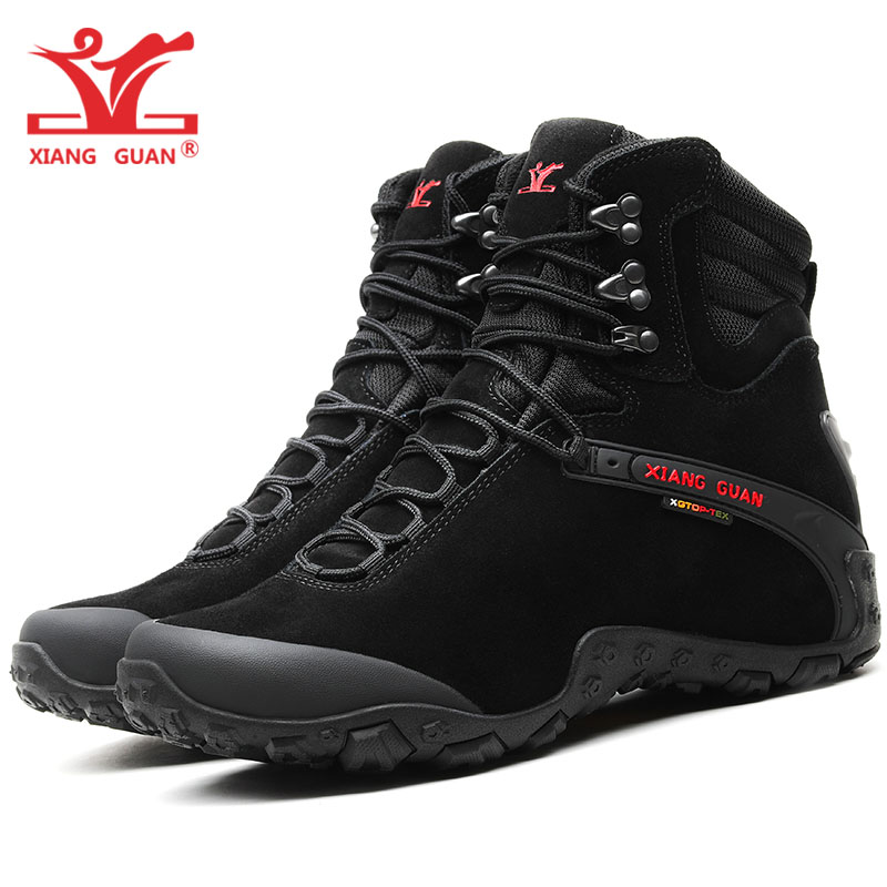 XIANG GUAN Men Hiking Shoes Cow Leather Women High Trekking Boots Black Waterproof Sports Climbing Shoe Outdoor Walking Sneakers цена
