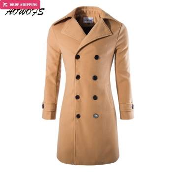 AOWOFS Mens Overcoat Long Trench Coats Winter Male Pea Coats Double Breasted Wool & Blends Coats Brand Clothing Black Grey Camel