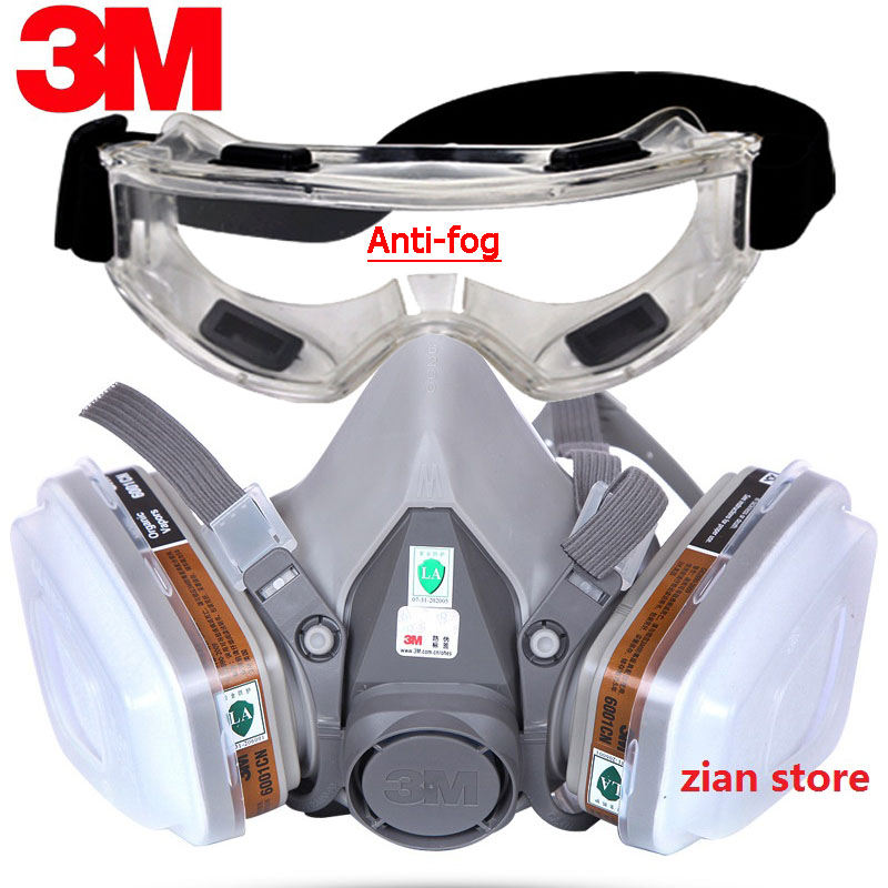 <font><b>3M</b></font> 6200 Chemical Gas Mask 8 in 1 Painting Spray Respirator with Anti-Fog Glasses Pesticide Formaldehyde Particles Half Mask image