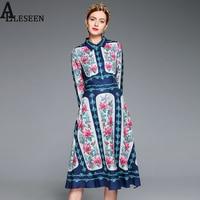 Vintage New Dresses Gothic Full Sleeve Summer 2017 Flowers Print Hot Sale Ethnic Female Turn Down