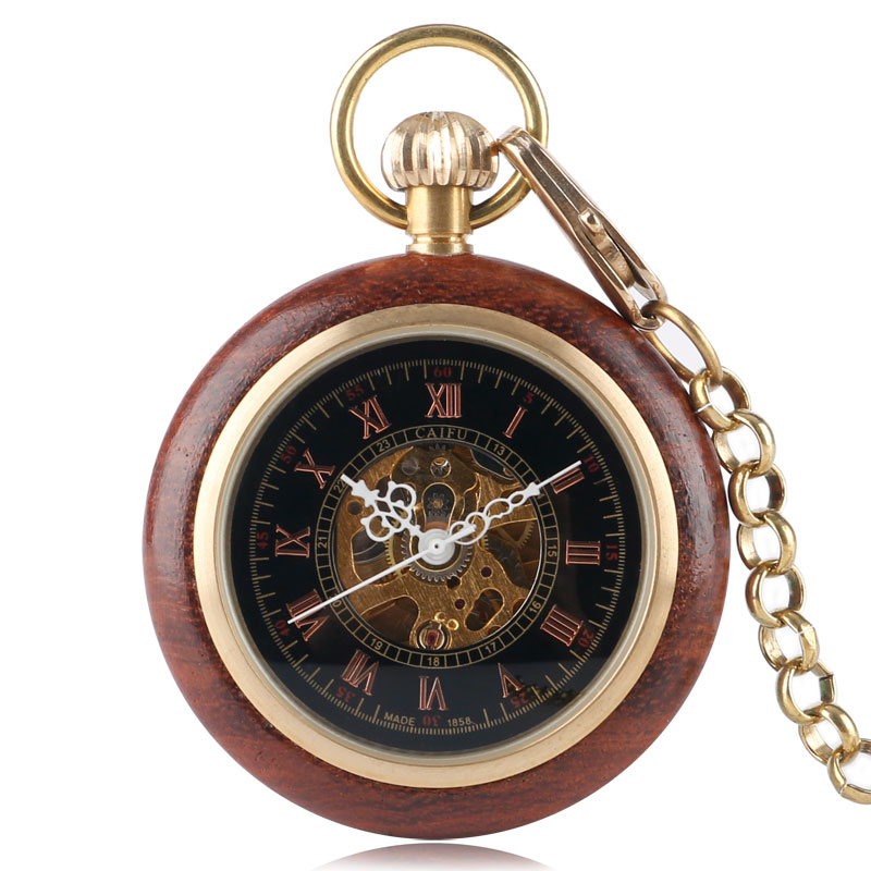 Wood Mechanical Pocket Watch Retro Hand Winding Hollow Skeleton Vintag Clock Men Gift Thick Necklace Fob Pendant retro luxury wood circle skeleton pocket watch men women unisex mechanical hand winding roman numerals necklace gift p2012c
