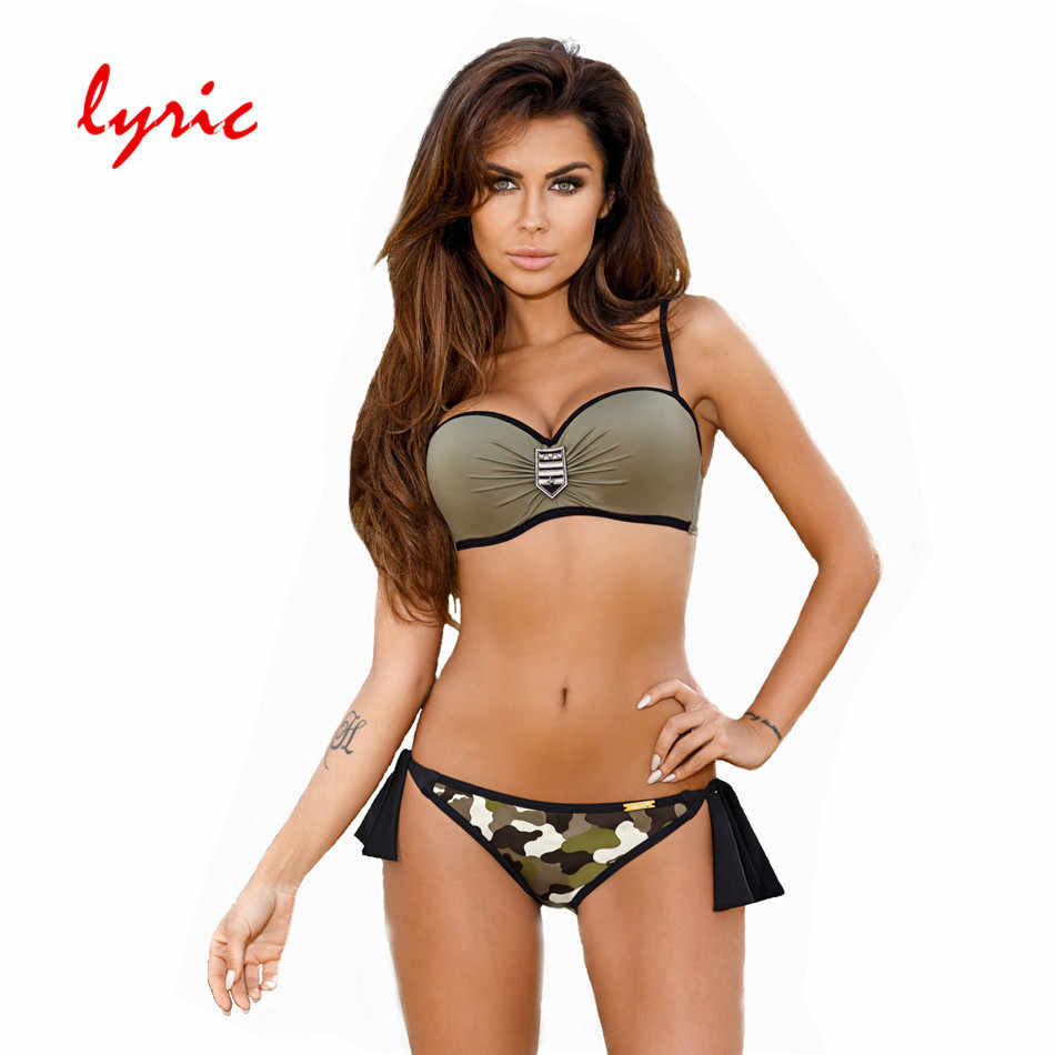 Lirik Bandeau Bikini Set Push Up Baju Renang Wanita Baju Renang Air Panas Baju Renang Seksi Pakaian Hipster Junior Bather Pantai memakai