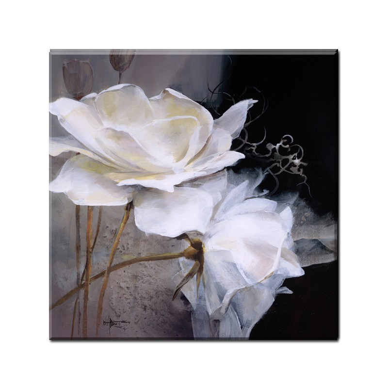 50x50cm Modern Wall Painting White Flowers Home Decorative Living Room Art Picture Paint On Canvas Prints Wedding Decoration In Calligraphy From