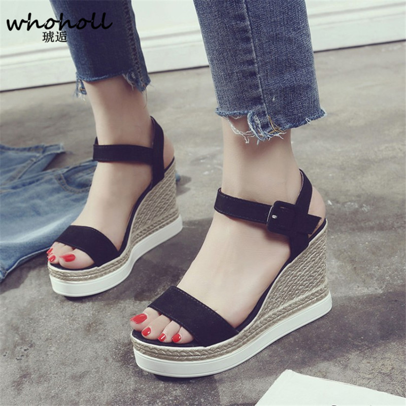 WHOHOLL Natural Suede Leather Sandals Women Super High Heels Open Toe Fashion Ladies Shoes Platform Wedge Sandals Summer 2018