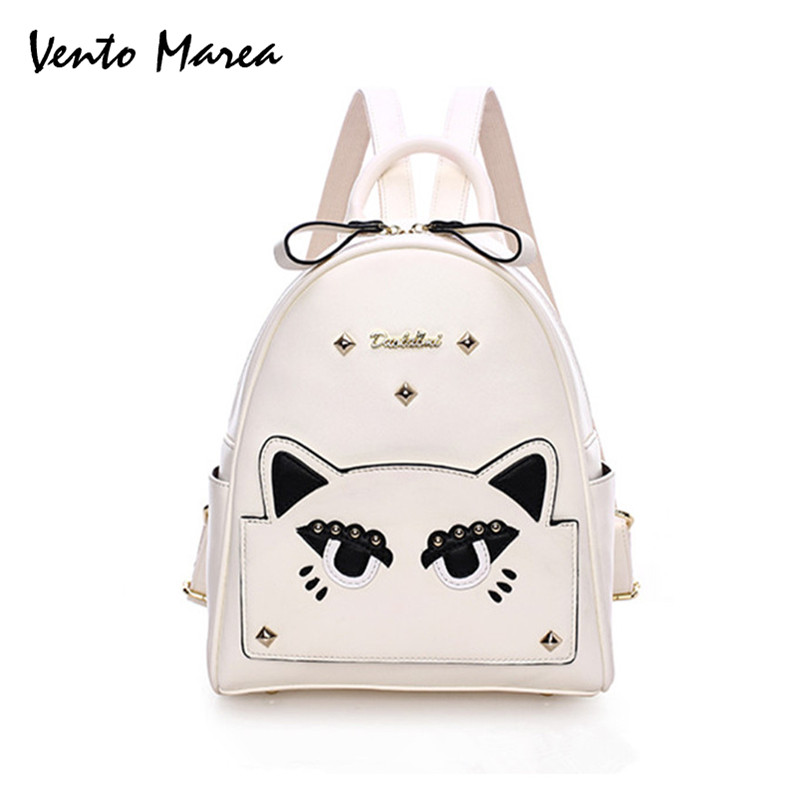 Cat Backpack Sack Preppy Style School Backpacks Funny Quality Pu Leather Fashion Women Shoulder Bag Travel Back Pack Sac 2016 new backpack funny lovely style school backpacks quality pu leather fashion women shoulder bag travel back pack square bag