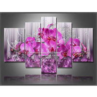 Pink Orchids 5D Diamond Embroidery Cross Stitch Square Full Flower Diamond Mosaic Multigang Picture Pasted Home
