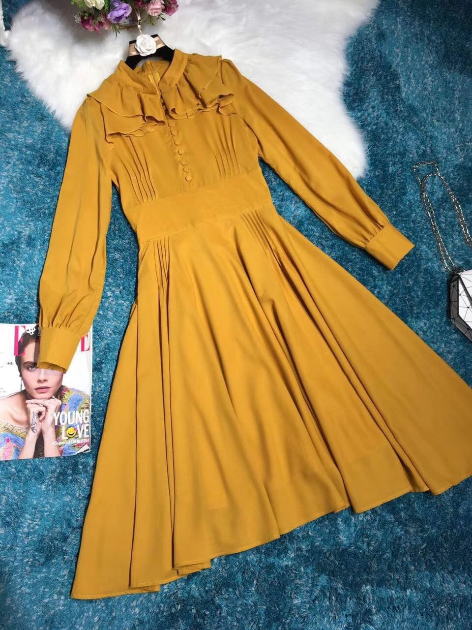 High Fashion Autumn Style Ruffles Stand Collar Design Formal Casual Yellow Dress 2018 Women Boutique Elegant Pleated Dress