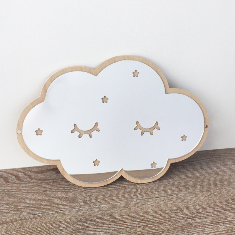 Ins Nordic wooden crown cloud ice cream stars cat children acrylic decorative mirror home wall decoration artwork(China)