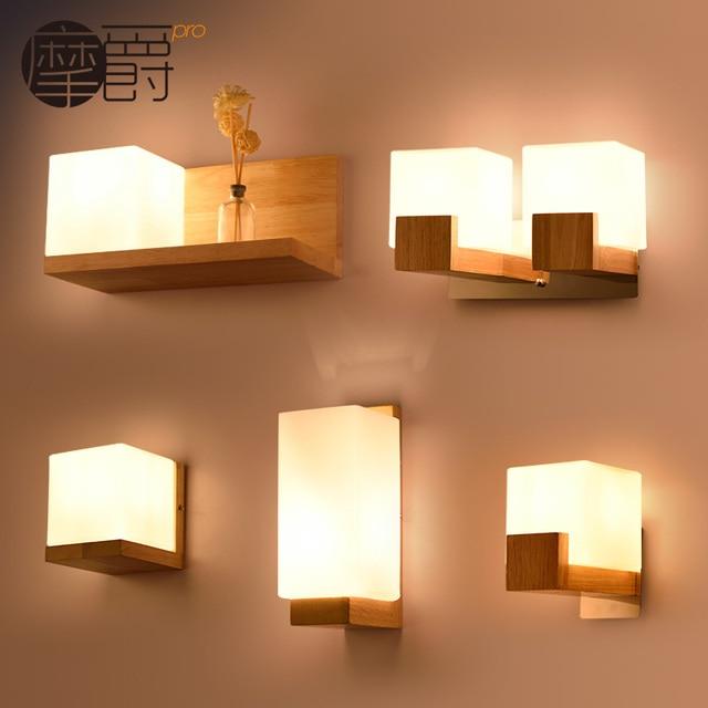 Voorkeur Art nachtkastje houten wandlamp balkon vierkante mode korte  #GS59