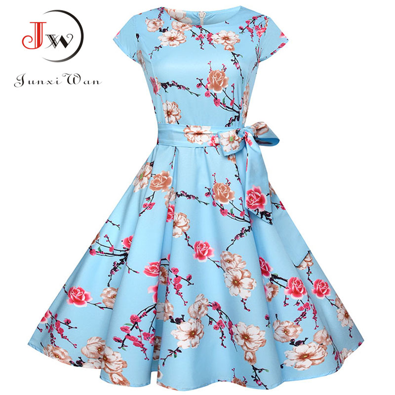 Casual Summer Dress Women 2018 Sexy Floral Vintage Party Dress Elegant 50s 60s Retro Swing Plus Size Vestidos Tunic With Belt