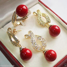 wholesale choker jewelry sets for women anime Wedding Charming 12mm Red Shell Pearl Pendant Necklace Earrings Ring Set