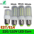 24/36/48/69Leds E27 E14 LED Corn Light Lamp AC 110/220V SMD5730 Led Corn Bulb Lighting Lamp E27 Led Bulb lights