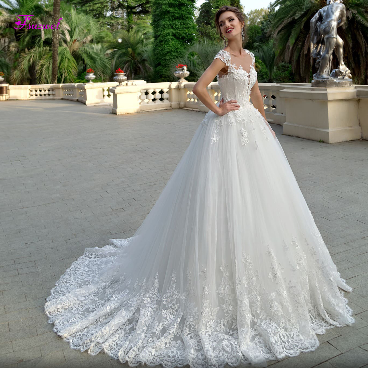 A Line Wedding Dresses With Cap Sleeves: Fsuzwel New Arrival O Neck Appliques Cap Sleeves A Line