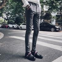 2017 Social Pants Mens Dress Pant Slim Fit Mens Fashion Casual Pants Grey Pantalones Hombre Cargo
