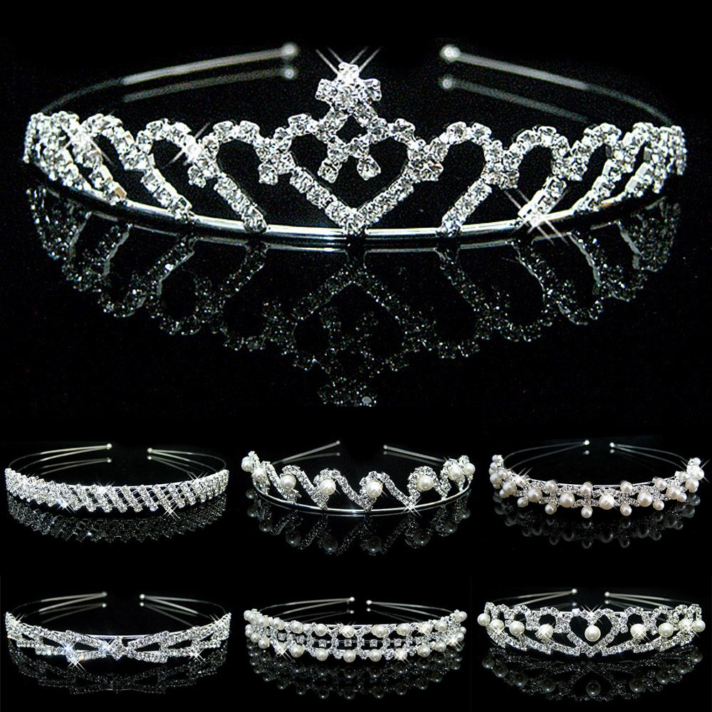 New Shiny Crystal Rhinestone Pearl Headband Wedding Bridal Silver Hairwear Party Girls Tiara Flower Hair bands Hair Accessories 1 pcs lot new silver crystal rhinestone hairbands for women bridal wedding hair accessories tiara headbands crown hairwear