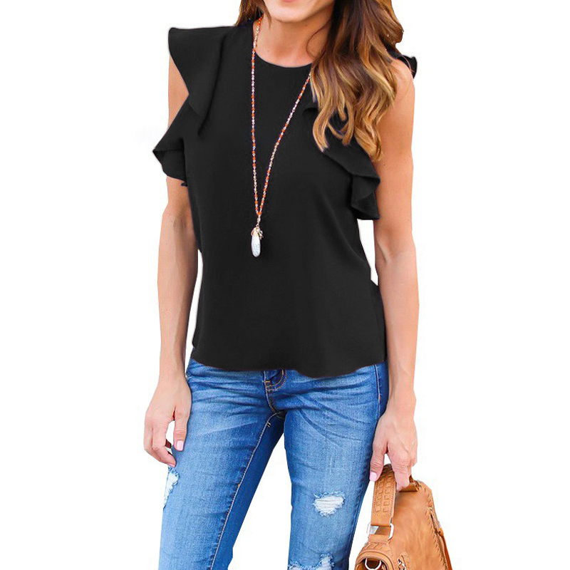Women Chiffon Blouse Fashion Summer Sexy O Neck Sleeveless Ruffle Shirts Casual Slim Solid Blusas Plus Size Tee Tops