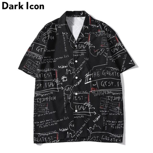 Мужская рубашка в стиле ретро с принтом «Темный значок», уличная рубашка с коротким рукавом и отложным воротником в стиле хип хоп, лето 2019