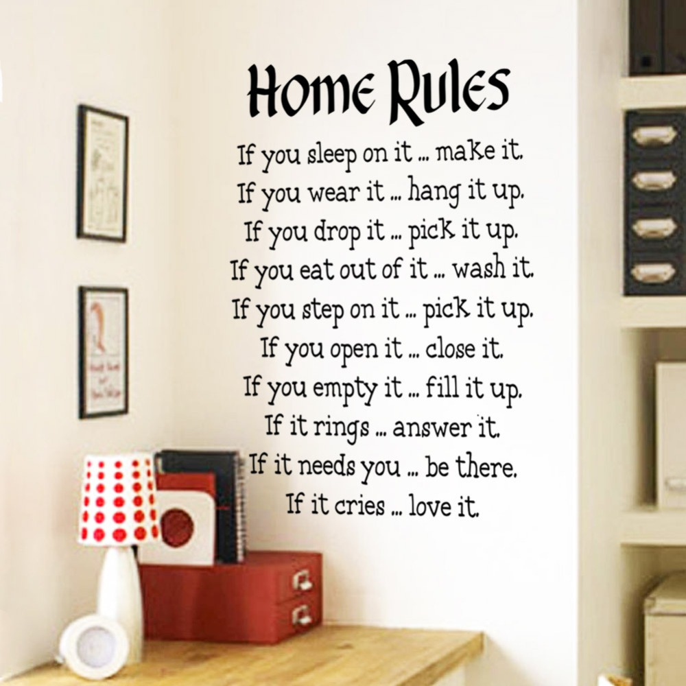 """home rules"""" quotes and sayings wall decals, living room bedroom"""