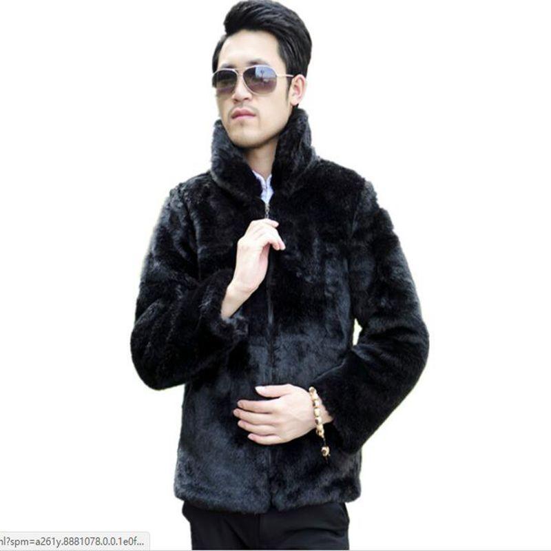 sale ! sale ! new winter 2018 men's fake fox fur imitation mink coat tide models men's casual leather