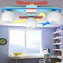 3 Lights Wood Metal Airplane Children Kids Cartoon LED Lamp Ceiling Light 90-260V free shopping