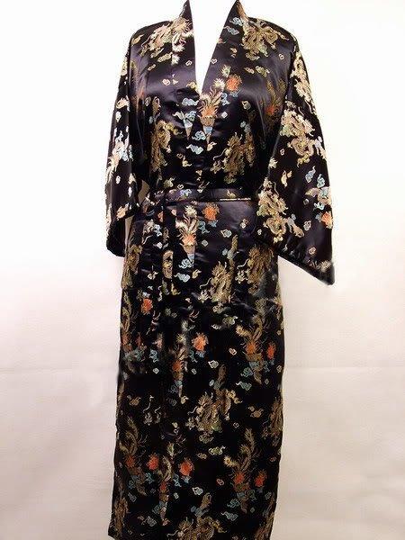 Hot Sale Preto Robe De Cetim De Poliéster dos homens Chineses Do Dragão phenix Kimono Bath Vestido TAMANHO S M L XL XXL 3XL LDF-1