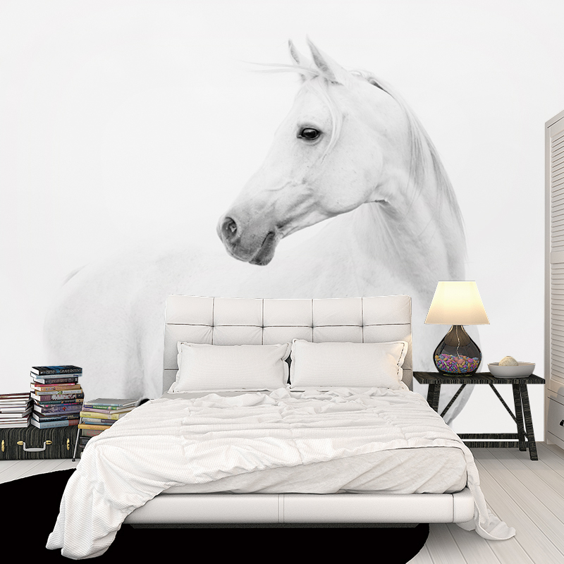 8D Papel Mural White Horse Wall Decoration 3d Wall Mural Animal Wallpaper 3D Wall paper Photo Murals for Bedroom Sofa Background white horse animal murals 3d animal wallpaper papel mural for dinning room background 3d wall photo murals wall paper 3d sticker