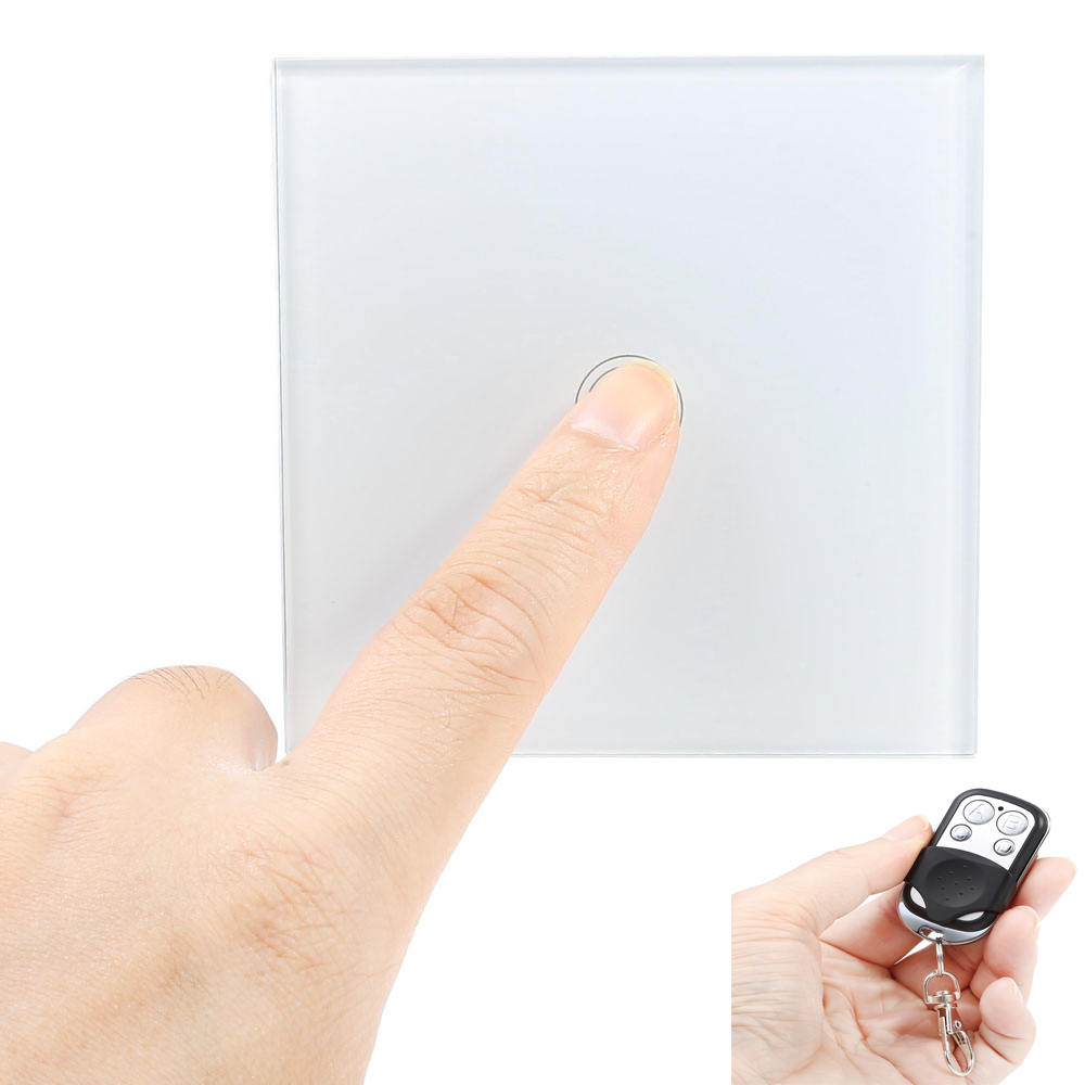 Smart Touch Switch 1 Gang Single Way Intelligent Controller Crystal Tempered Glass Panel Home Safety Switch with Remote Control eu us smart home remote touch switch 1 gang 1 way itead sonoff crystal glass panel touch switch touch switch wifi led backlight