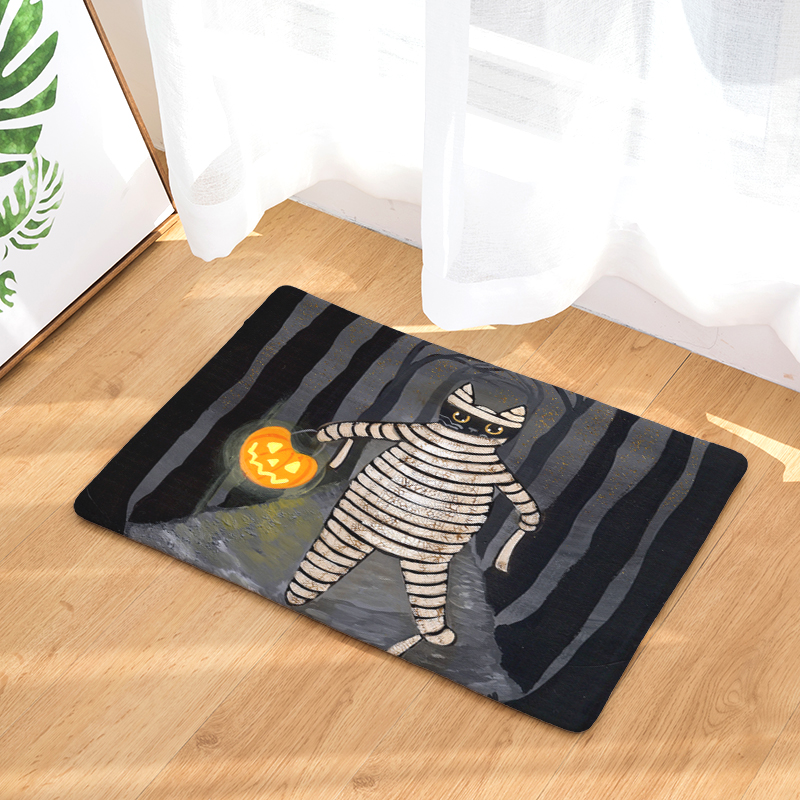 Welcome Floor Mat Halloween Cat Printing Flannel Entrance Carpet 40x60cm  50X80CM Kitchen Rug Bathroom Non Slip Tapete  In Mat From Home U0026 Garden On  ...
