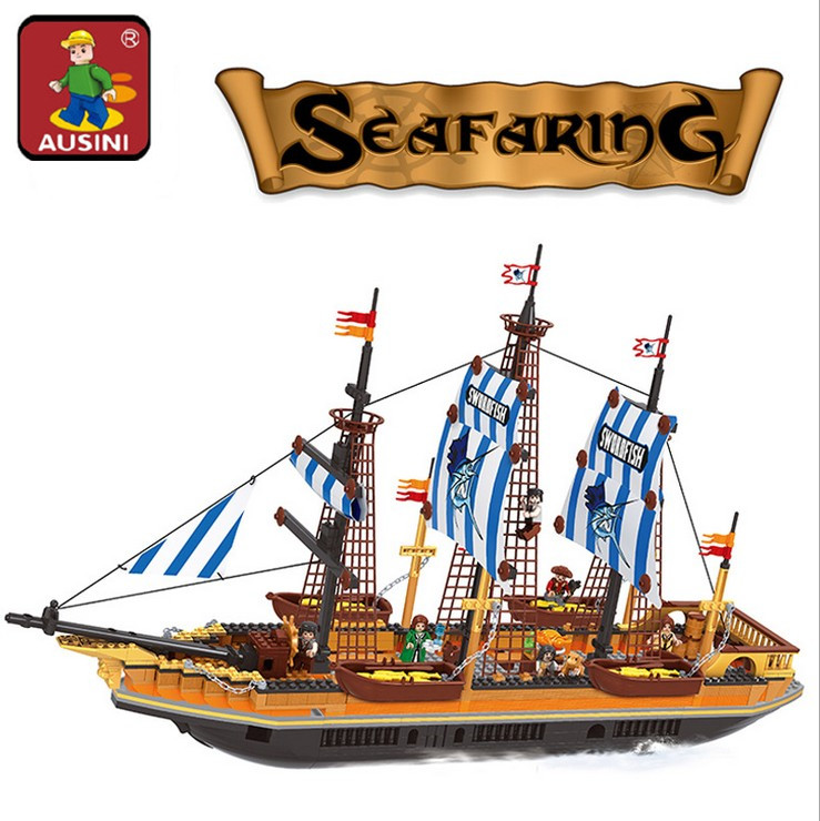 AUSINI 857PCS Big Pirate ship Building Blocks Sets Large fishing vessels children's educational bricks toys brinquedos 27806
