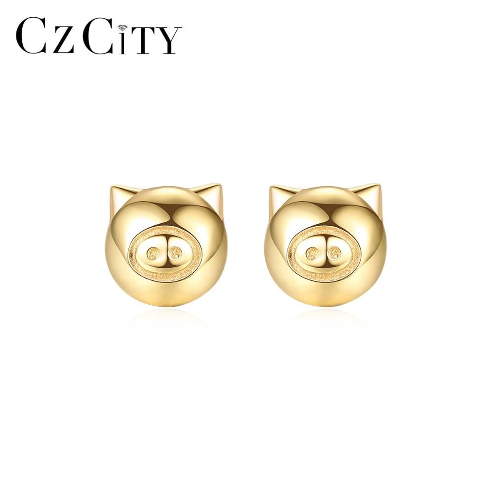 CZCITY Exquis Pur 14 K Or Bonne Chance Cochon Stud boucles d'oreilles pour femmes Mignon Animal Oreille Stud 14 K Jaune Or bijoux de marque 2019 Nouveau