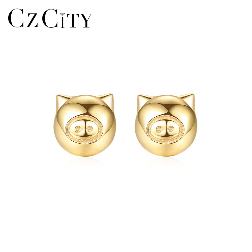 CZCITY Exquisite Real 14K Gold Good Luck Pig Stud Earrings for Women Cute Animal Ear Stud 14K Gold Earring Brand Jewelry BrincosCZCITY Exquisite Real 14K Gold Good Luck Pig Stud Earrings for Women Cute Animal Ear Stud 14K Gold Earring Brand Jewelry Brincos