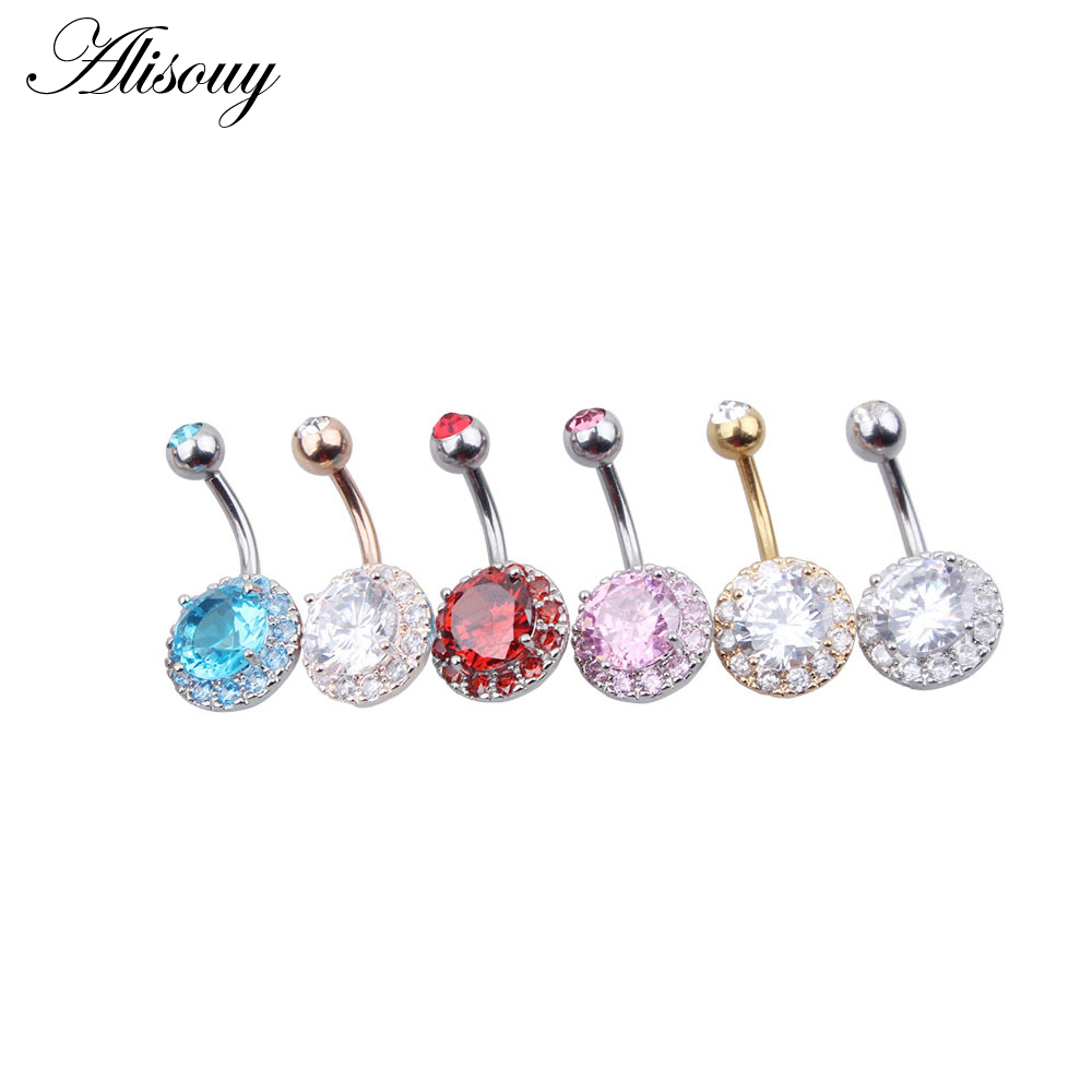 Body Jewelry Alisouy 1 Pcs Medical Steel Crystal Rhinestone Flower Belly Button Ring Dangle Navel Women Gold Color Body Piercings Jewelry Jewelry & Accessories