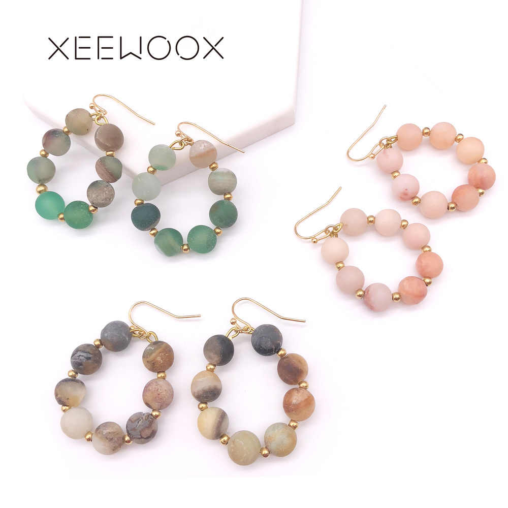 Colorful Natural Stone Semi-precious Stone Pink Green Brown Beads Drop Earring Statement Woman Circle Drop Earring Vintage Gift