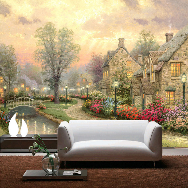 Custom Photo Wallpaper 3D European Retro Beautiful Rural Scenery As Living Room Background Mural Wall Paper For Walls Home Decor custom photo wallpaper high quality wallpaper personality style retro british letters large mural wall paper for living room