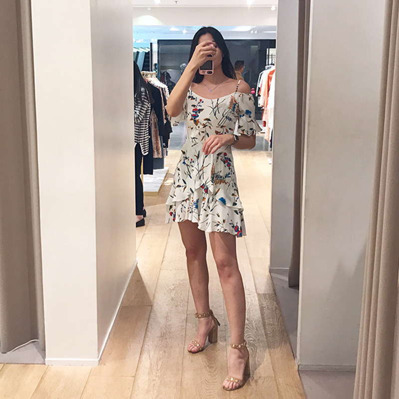 Women Dress 2019 Spring and Summer Slim Floral Sling Strapless High Rise Ruffle Mini Dress-in Dresses from Women's Clothing    3