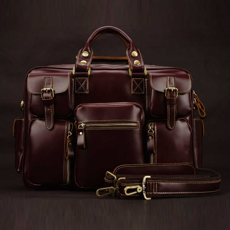 "New 2018 Luxury Genuine Leather men briefcase business bag tote men's leather briefcase shoulder bag 15"" Laptop bag free ship"