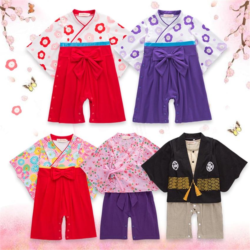 Japanese Style Kimono Baby Girl Romper Ethnic Tradition Clothing 12-36M Newborn Cherry Blossoms Kimono Romper Baby Clothes