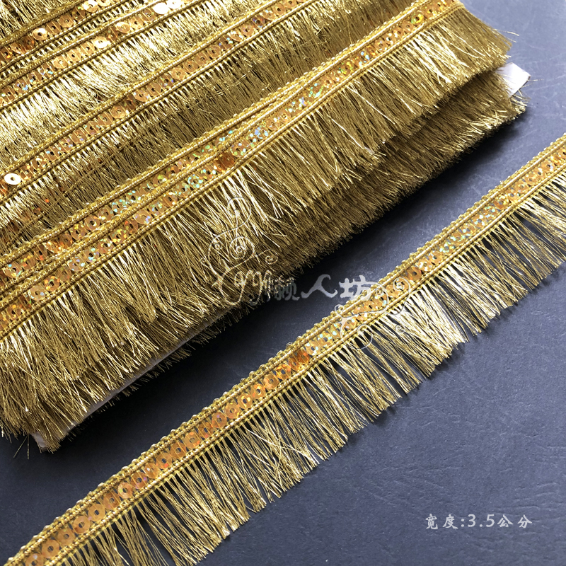 10 Meters 3.5cm Gold Tassel Fringe Laser Sequins Lace Trim DIY Accessories Decoration Material Lace Sewing Trims