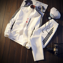men Autumn winter Running Set Long Sleeve Stand Collar Sweatshirt Sports Gym Clothes Men Sport Suit Training Wear